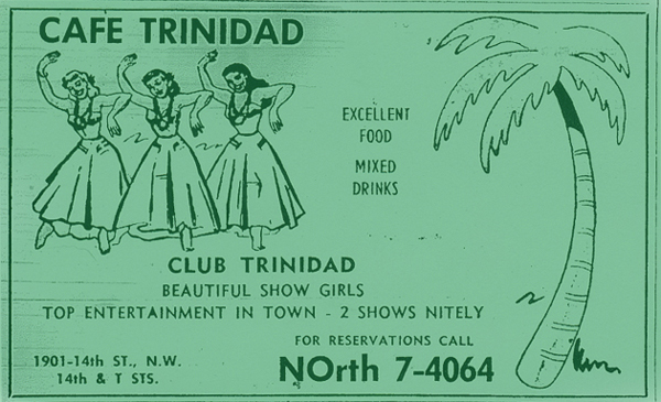 Advertisement for Cafe Trinidad, formerly Club Bali